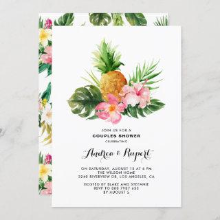 Tropical Watercolor Pineapple Couples Shower Invitation