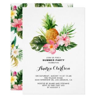 Tropical Watercolor Pineapple Floral Summer Party Invitation