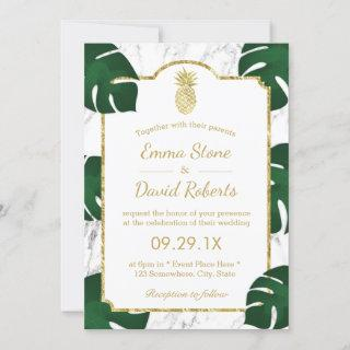 Tropical Wedding Gold Pineapple White Marble Invitation