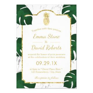 Tropical Wedding Gold Pineapple White Marble Invitations