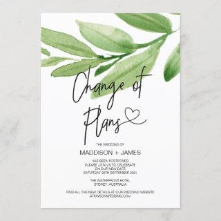 Tropical Wedding Postponed Notes Change of Plans Invitations