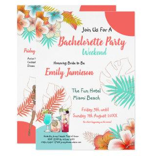 Tropical Weekend Itinerary Bachelorette Party Invitation