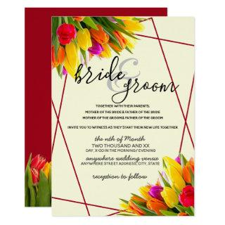 Tulip in Burgundy and Yellow Background Wedding Invitation