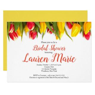 Tulips Red Yellow Bridal Shower Invitations
