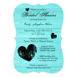 Turquoise and black bridal shower invitations