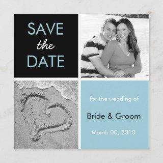 Turquoise and Black Save the Date Photo Cards