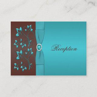 Turquoise and Brown Floral Enclosure Card