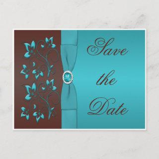 Turquoise and Brown Floral Save the Date Postcard