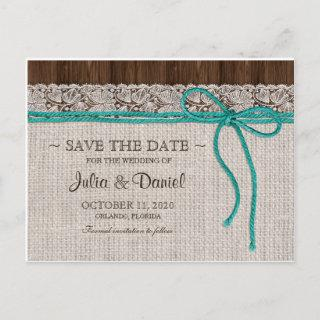 Turquoise And Brown Rustic Wedding Save The Date Announcement Postcard