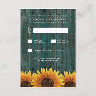 Turquoise and Brown Sunflower Wedding RSVP Cards