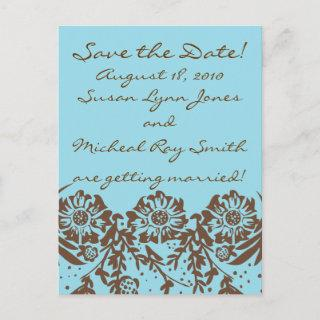 Turquoise and Chocolate Announcement Postcard