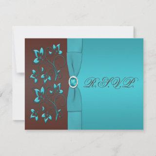 Turquoise and Chocolate Floral Reply Card