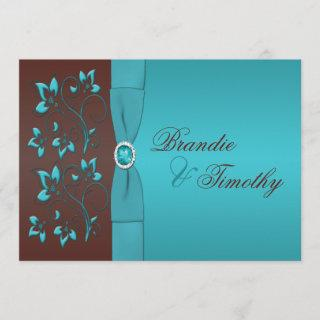 Turquoise and Chocolate Floral Wedding Invitations