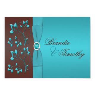 Turquoise and Chocolate Floral Wedding Invitation