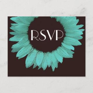 Turquoise and Chocolate Sunflower Wedding RSVP