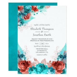 Turquoise and Coral Rustic Floral Wedding Invitation