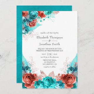 Turquoise and Coral Rustic Floral Wedding Invitations