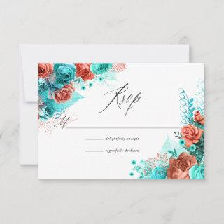 Turquoise and Coral Rustic Floral Wedding RSVP Card
