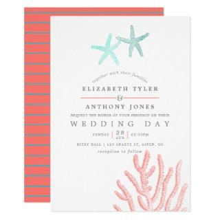 Turquoise and Coral themed Beach Wedding Invitations