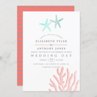 Turquoise and Coral themed Beach Wedding Invitation