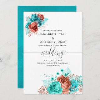 Turquoise and Coral Watercolor Floral Wedding Invitations