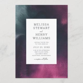 Turquoise and Fuchsia Bold Wash Wedding Invitations