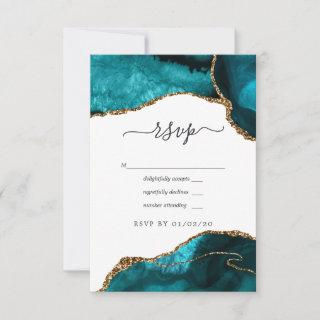 Turquoise and Gold Agate Wedding RSVP Card