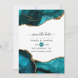 Turquoise and Gold Agate Wedding Save The Date