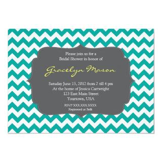 turquoise and Grey Chevron Shower Invitations