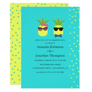 Turquoise and Lemon fun Pineapple Engagement Party Invitation