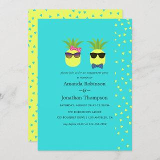 Turquoise and Lemon fun Pineapple Engagement Party Invitations