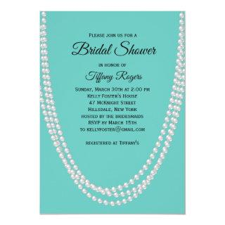 Turquoise and Pearls Bridal Shower Invitations