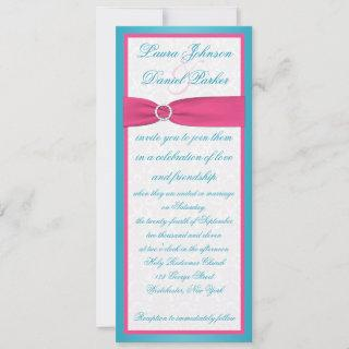 Turquoise and Pink Damask Wedding Invitation