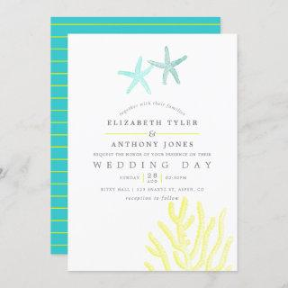Turquoise and Yellow themed Beach Wedding Invitation