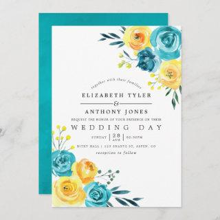 Turquoise and Yellow Watercolor Floral Wedding Invitations