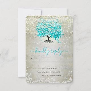 Turquoise Aqua Fairytale Lights and Stars Wedding RSVP Card