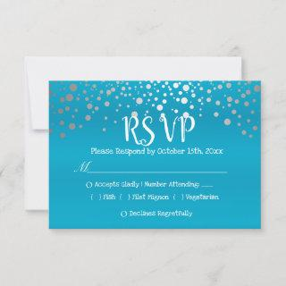 Turquoise Blue and Silver Confetti Dots - RSVP