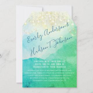 Turquoise Blue Green Gold Watercolor Fairy Lights Invitation