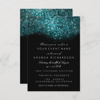 Turquoise Blue Sparkly Glitter Black White Event Invitations