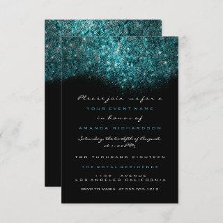 Turquoise Blue Sparkly Glitter Black White Officia Invitations