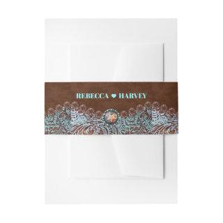 turquoise brown cowboy country western wedding Invitations belly band