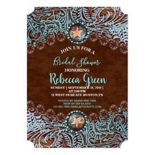 turquoise brown cowboy western bridal shower Invitations