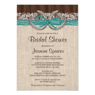 Turquoise Brown Horseshoe Bridal Shower Invitations
