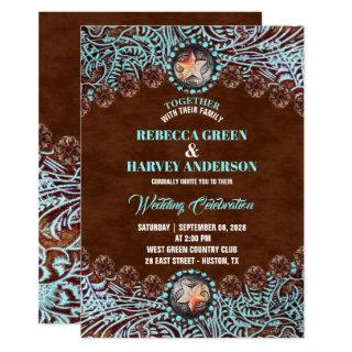 turquoise brown leather country western wedding invitation