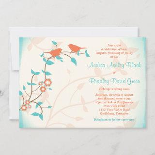Turquoise Coral Birds Leaves Wedding
