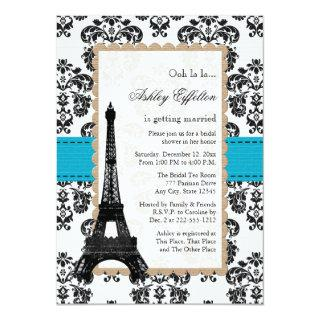 Turquoise Eiffel Tower Parisian Bridal Shower Invitation