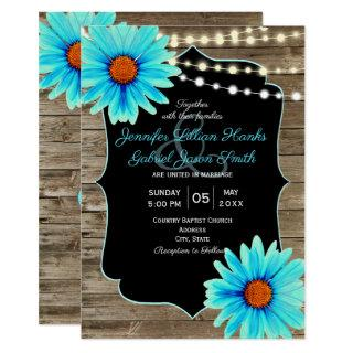 Turquoise floral wood string of lights wedding invitation