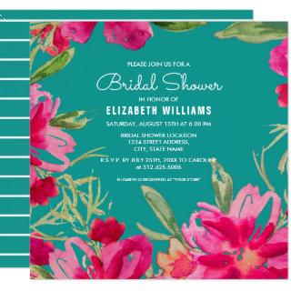 Turquoise | Fuchsia Floral Bridal Shower Invitations