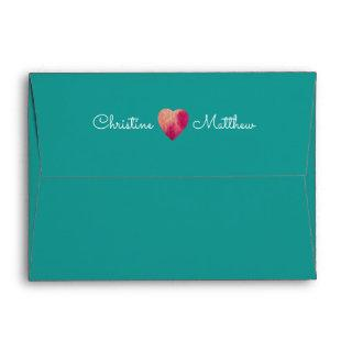 Turquoise | Fuchsia Floral Custom Wedding Envelope