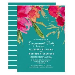 Turquoise | Fuchsia Floral Engagement Party Invitations
